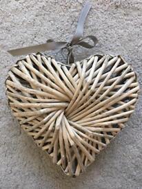 Wicker Heart Decoration With Grey Ribbon