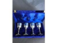 FOUR BEAUTIFUL SILVER PLATED E.N.P.S GOBLETS CUSHIONED IN BLUE PRESENTATION CASE