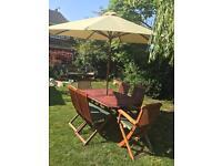 Teak garden set with 6 chairs