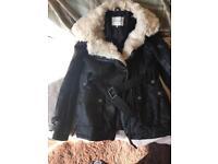 River island jacket with cream fauk fur collar size 10 never worn
