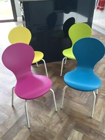 Set of four colourful kids' chairs