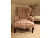 Bampton Style Armchair newly upholstered in Laura Ashley Keynes Burgundy