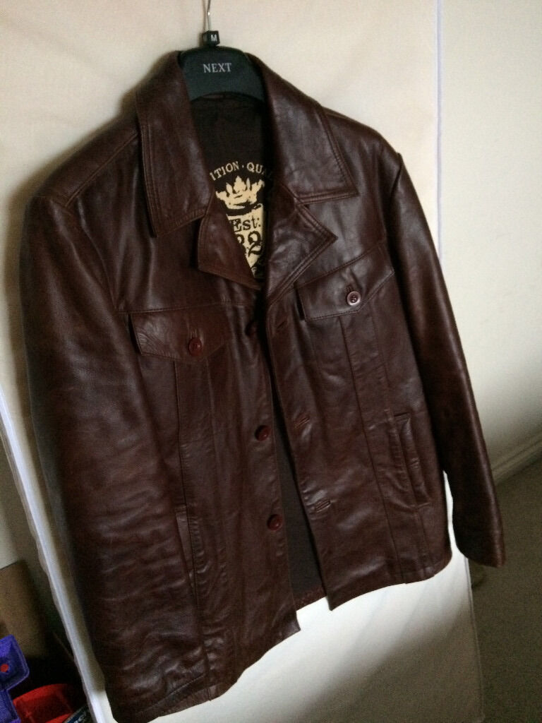 NEXT RETRO MENS LEATHER JACKET SIZE MEDIUM | in Rugby