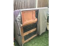 Double hutch, thermal cover and a slightly damaged single hutch (used to store hay). Tooting Bec