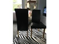 Solid oak and genuine leather black dining room chairs