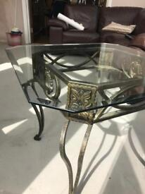 2 x ornate iron/glass topped tables