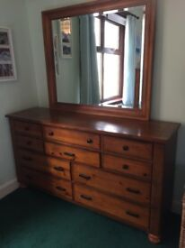 Beautiful matching solid wood chest of drawers and drawer unit with mirror