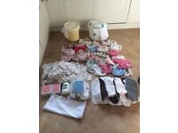 Huge bundle- cloth liners, inserts, covers, 2 nappy bins, 2 mesh laundry bags+ travel bag + extras