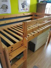 Pine high sleeper single bed