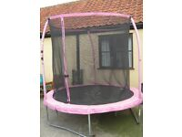 SOLD 8ft Trampoline with enclosure. Pink padding