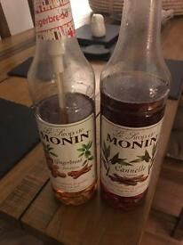 Monin Costa Coffee Syrup Bottles (1 Ltr Plastic) x2 Ginger and Cinnamon BARGAIN