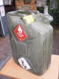 "EX-MILITARY PETROL/ DIESEL CAN - V.G.C. 19"" high x 14"" wide x 6"" deep - good strong can solid"