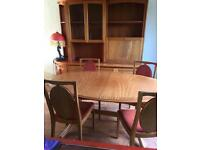 Table chairs and 3 piece sideboard