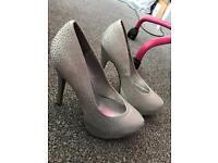 Silver sequin heels size 5