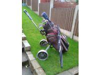 starter set of golf clubs & accessories