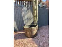 1/2 oak barrel planter