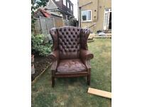 Chesterfield Leather Armchair and Sofa