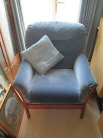 Upholstered armchair, blue colour, good condition. Very little use.