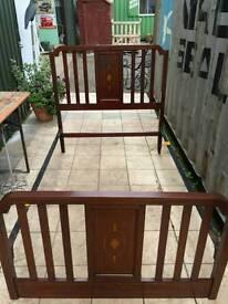 Edwardian mahogany inlaid bed