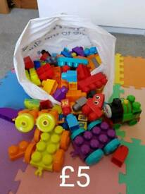 Large bag of mega blocks, a few different sets included