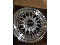 "15"" 7j bbs rs style alloy wheels et35 4x100 4x114.3 pcd vw golf polo mx5 BMW Clio Honda"