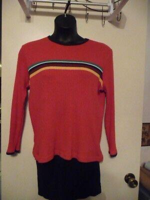 Carolina Pullover (Women's Carolina Sweater Pullover Long Sleeve Red  Multi Color Strip Size 14/16W)