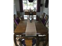 Solid Oak & Walnut dining Table 8 seater