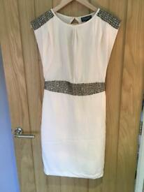 Warehouse Cream Shift Dress with beading