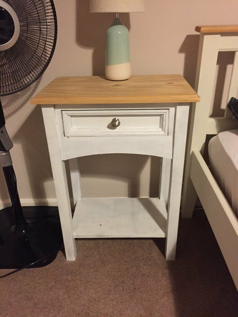 Pair Bed Stools: SHABBY CHIC BEDSIDE TABLES / STOOLS WITH DRAWERS PAIR IN