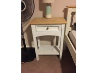 SHABBY CHIC BEDSIDE TABLES / STOOLS WITH DRAWERS PAIR IN SOLID WOOD