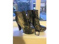 Size 6 snakeskin platform ankle boots