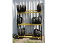 TYRE STORAGE RACK RACKING. HEAVY DUTY-STRONG. BRITISH MADE. 5ft 8in LONG x 8ft HIGH (173cm x 240cm)