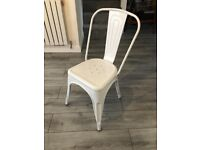 Set of 4 White Metal Tolix Industrial Dining Chairs