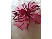 Wedding Fascinator burgandy - immaculate condition. £5.00