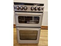 New World 500TSIDL 50cm Twin Cavity Gas Cooker in silver
