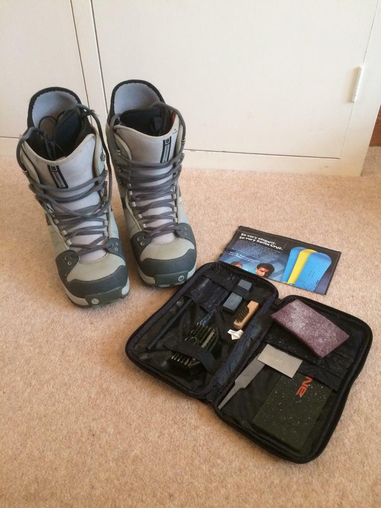 Mens snowboard boots and board sharpening kit