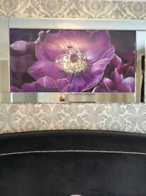 Mirrored 3D crystal plum flower picture