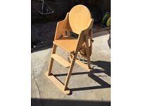 JOHN LEWIS East Coast Solid Wood High Chair