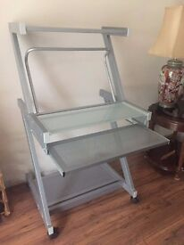 Fully Functioning Metallic PC Desk on Rollers with Glass Top