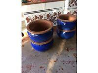 Large Blue Pots