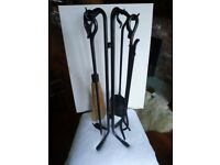 Hand Hammered Black Wrought Iron Fireplace tool set & leather log holder. USED