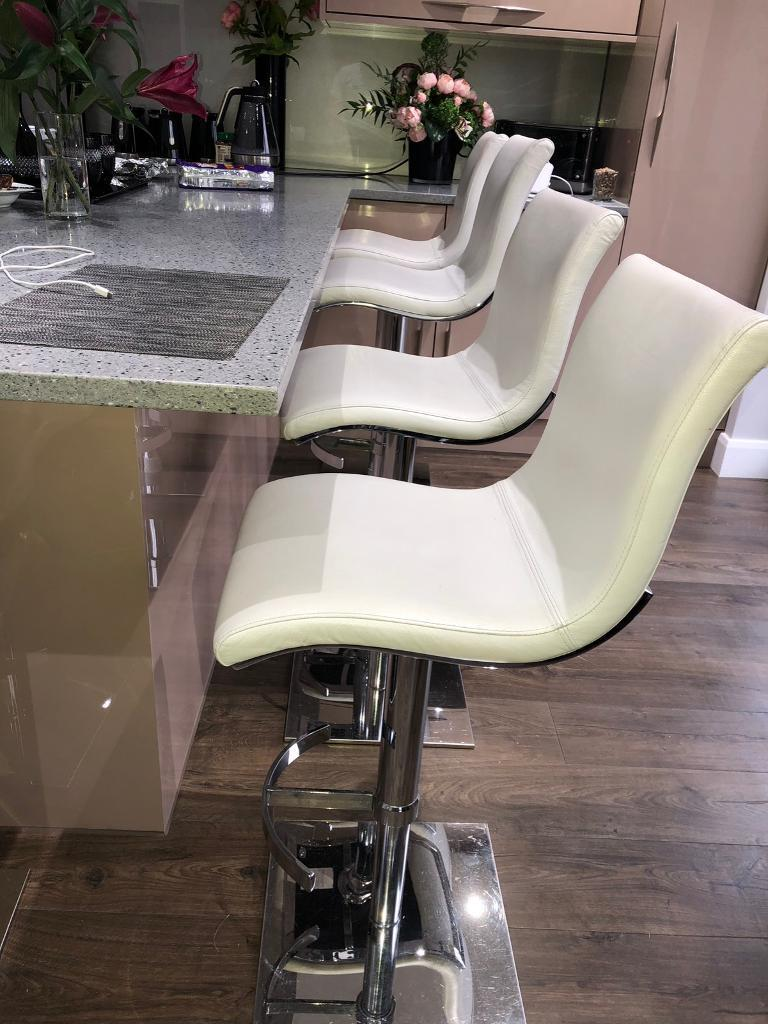 kitchen living room breakfast bar stool real leather white