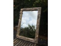 Mirror with driftwood frame & rope edge 70 X 40 cm