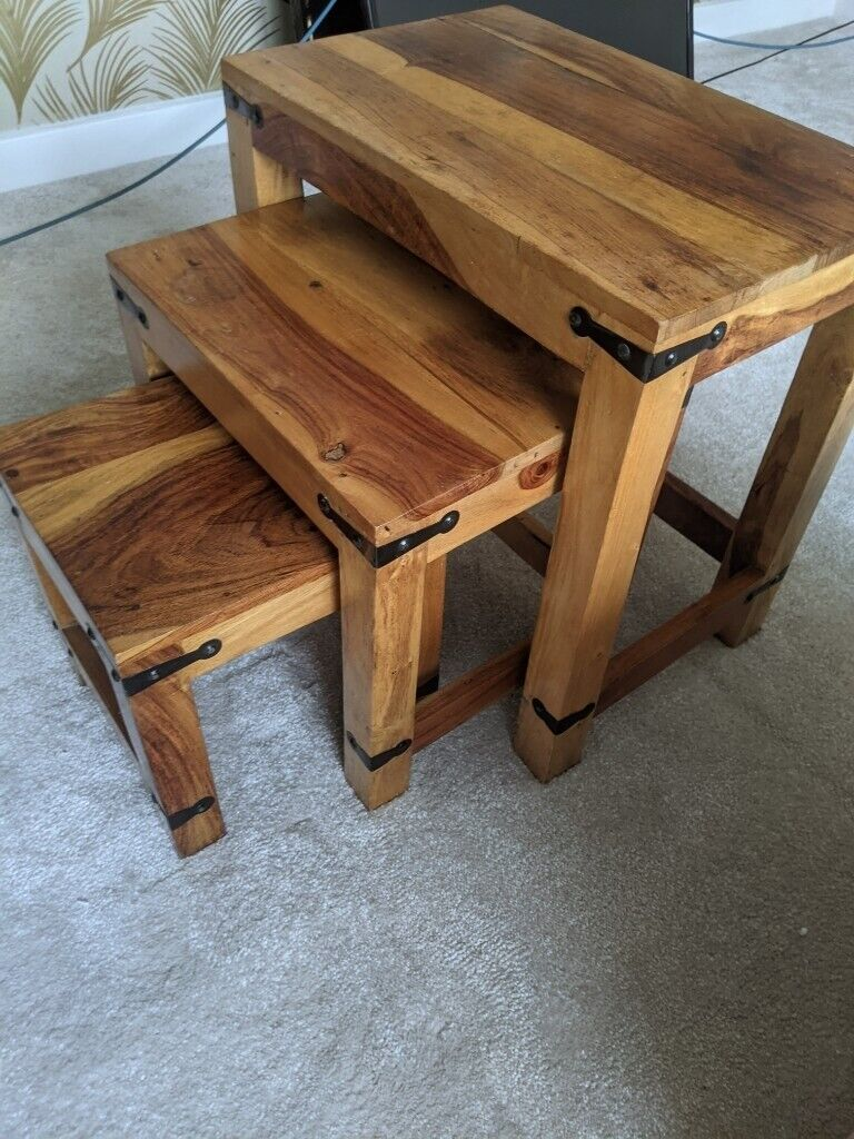 Beautiful Solid Wood Nest Of Tables | in Grangemouth ...