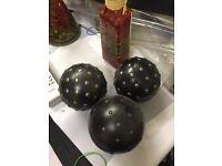 Ornamental balls black and metallic studs