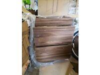 Dark wood vanity unit