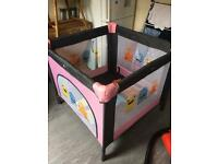 Girls travel cot playpen