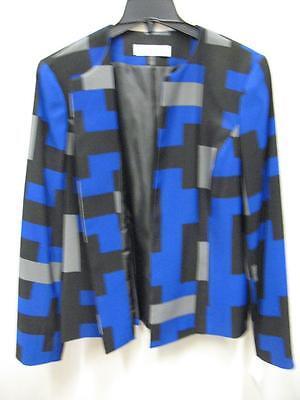 Kasper 10585506 Colorblocked Pattern Blazer Jacket Blue Black Gray Womens