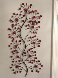 Red glass decorative wall hanging