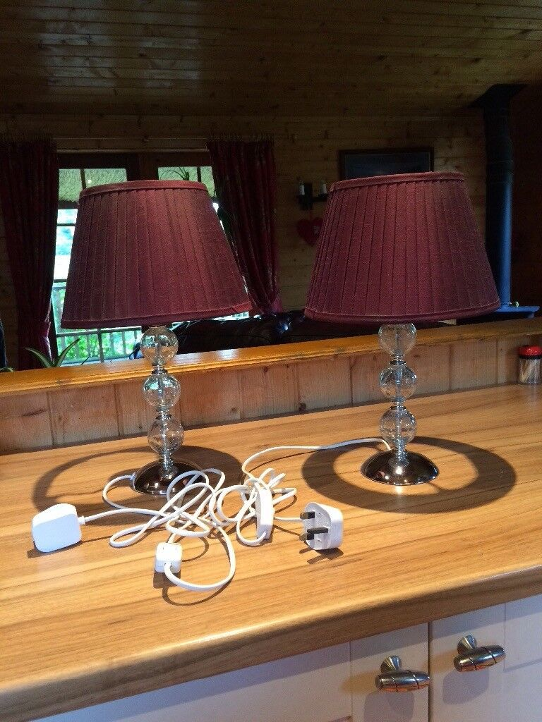 These lamps have Aubergine coloured shade with 3 bauble crackle glaze effect stands